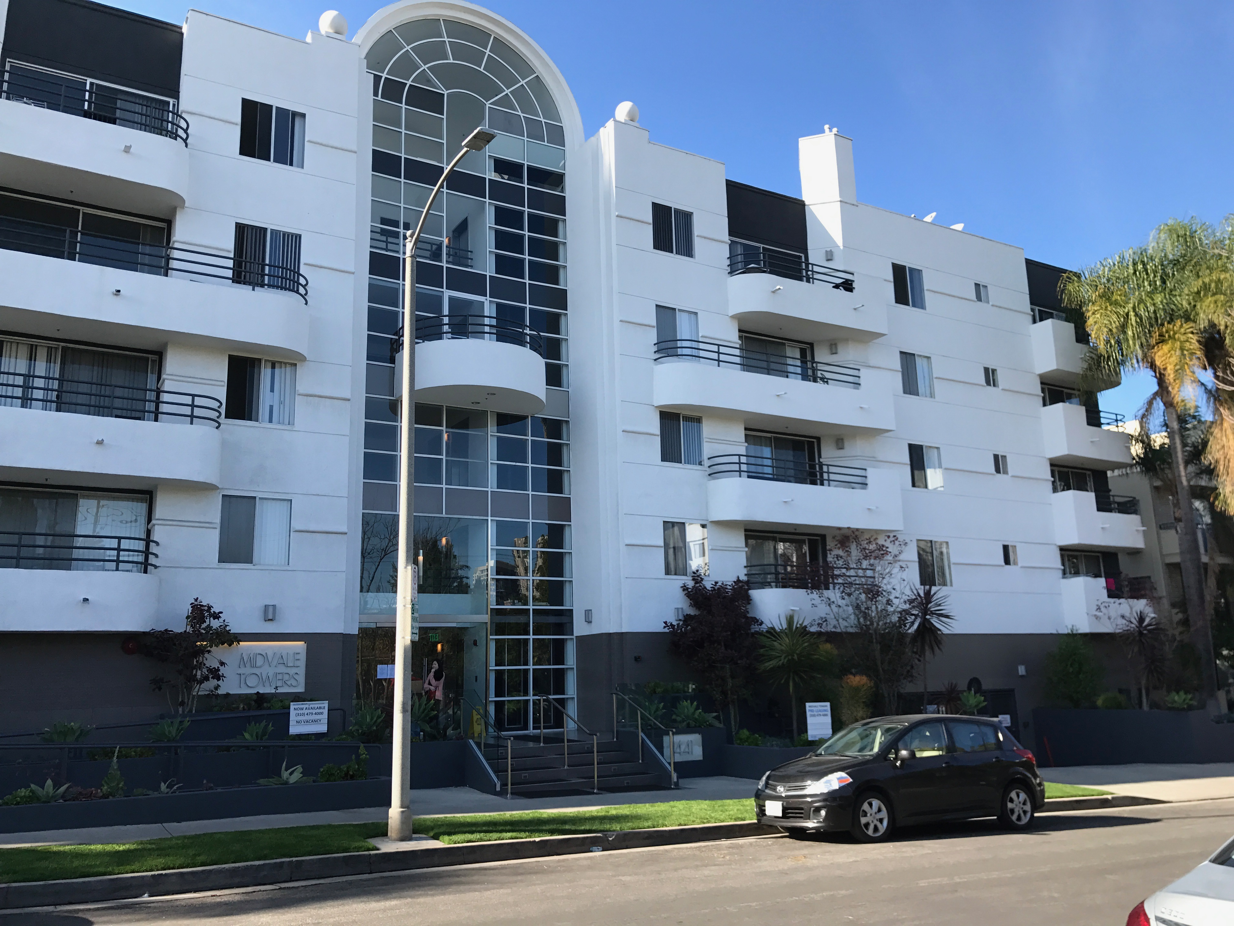 Midvale Towers Apartment Residence Painted In White with Grey Accent Colors