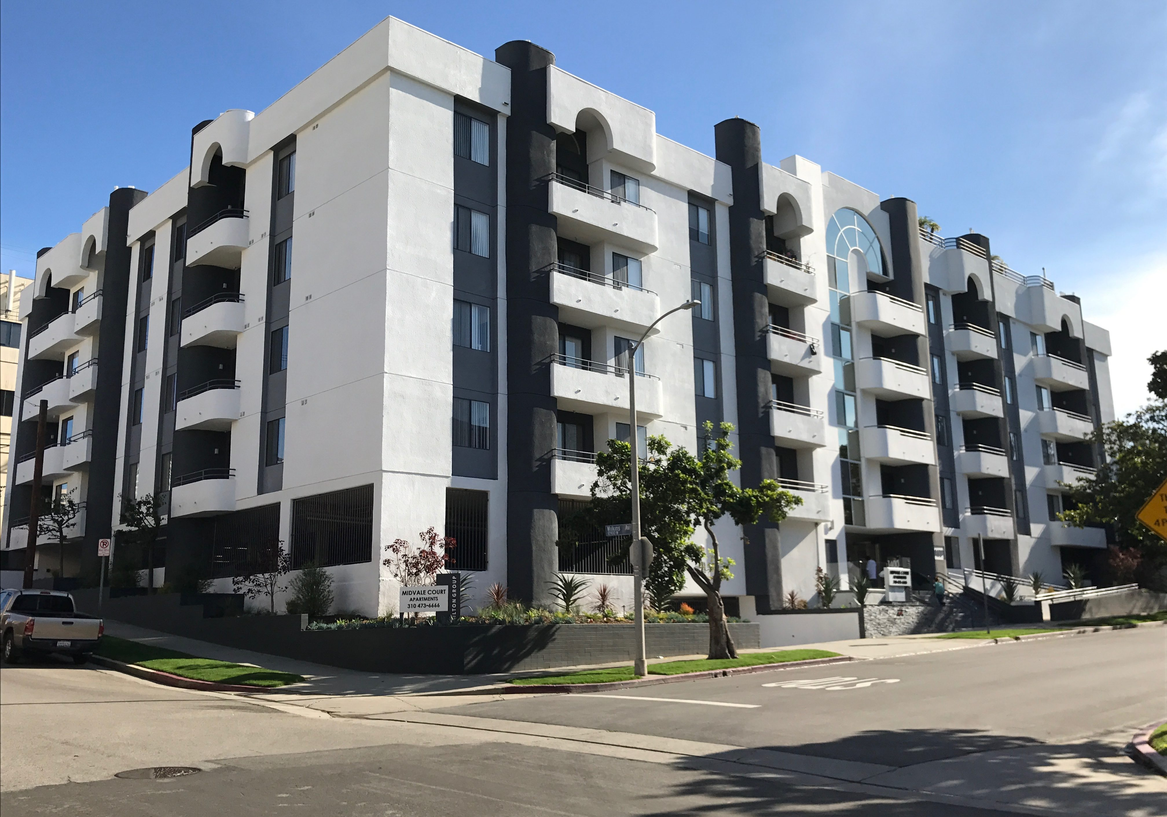 Midvale Court Apartment Building showcasing White paint color and Grey accent color