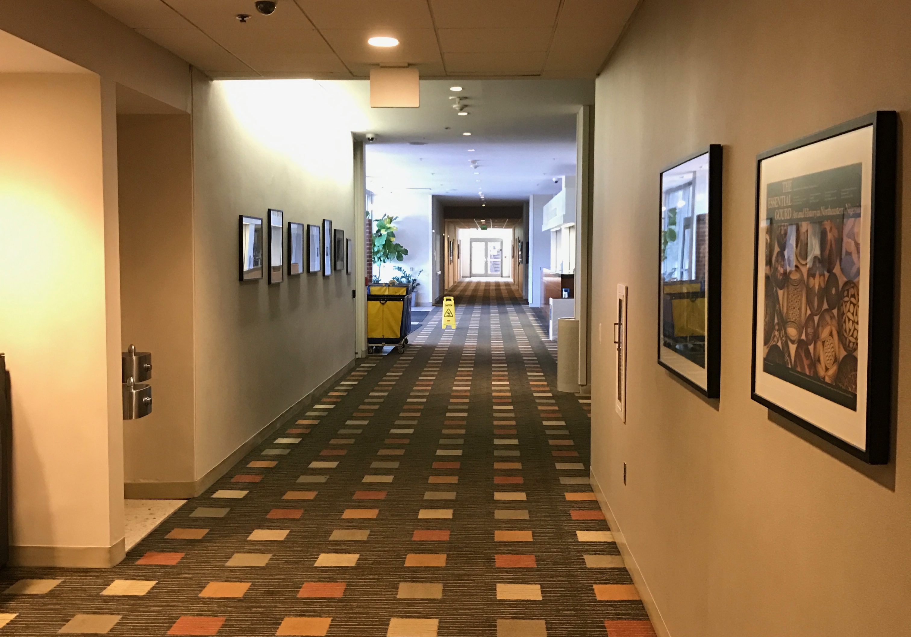 Dormitory Lobby showcasing painted walls and picture frames hanging upon them